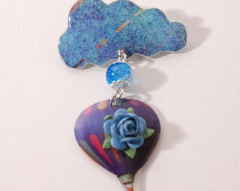 Cloud and balloon, blue, Pearl, flower brooch