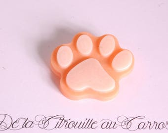 Cat paw brooch, orange and white