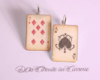 Poker, Pinochle playing cards 7 diamond earrings and ACE of Spades
