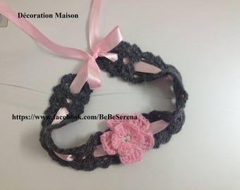 Girl and baby pink and gray crochet headband