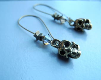 Bronze earrings, skulls, stars and Crystal