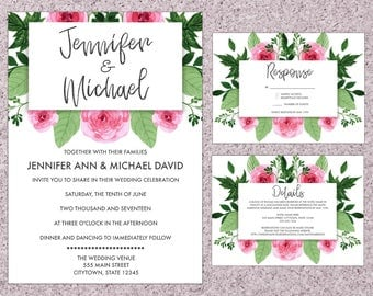 5 pcs - Digital Wedding Invitation Set | Floral | Wedding Invitation | RSVP Card | Details Card | Thank You Card | Envelope Seals
