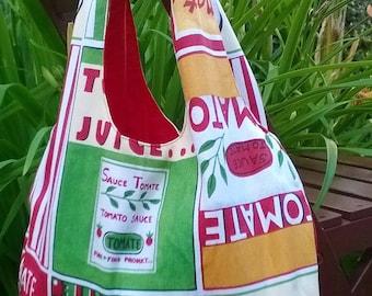 Tomato/red print reversible tote bag