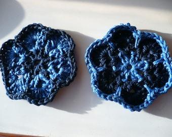 set of two blue cotton crochet flowers