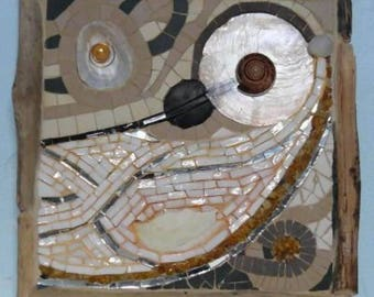 Picture in mosaic, shell and Driftwood - 1 seaside - inspired Navy