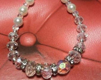 Bracelet with faceted beads and rhinestones