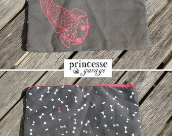 Handcrafted Koi Carp pouch, handsewn