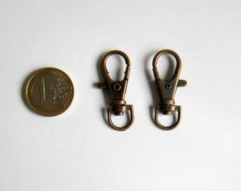 Set of 2 key hooks copper 38 x 17 mm