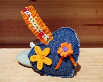 Keychain fabric jean orange flower - mother's Day / Valentines / anniversary