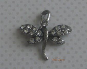 Antique silver rhinestone Dragonfly pendant