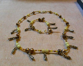 "set (necklace and bracelet) ""Holly"" festive, chic, classy (Brown and yellow)"