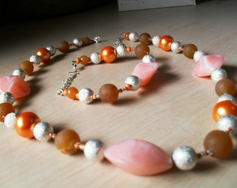 set (necklace and bracelet), summer, chic (orange and silver)
