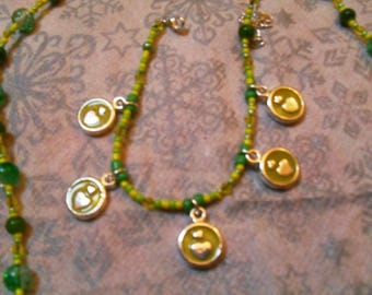 """finery """"heart"""" (necklace and bracelet) fine, classy, modern (yellow green)"""