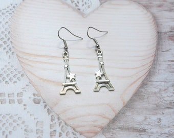 Pair dangle earrings Eiffel Tower paris charm