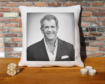 Mel Gibson Pillow Cushion - 16x16in - White