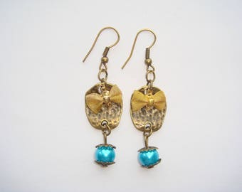 Connector bronze gold bow turquoise bead earrings