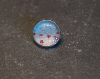 """Brooch cabochon silver ring """"poppies"""""""