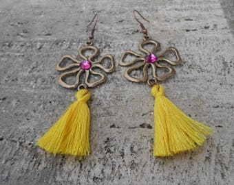 "Earrings print flower + tassel ""Flora"""