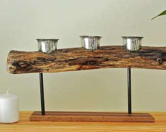3 piece natural branch tea candle holder