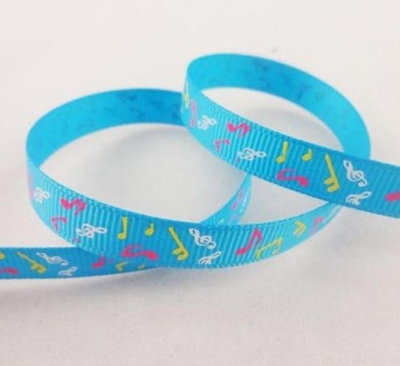 -Blue grosgrain Ribbon note music - 10 mm - 1 M