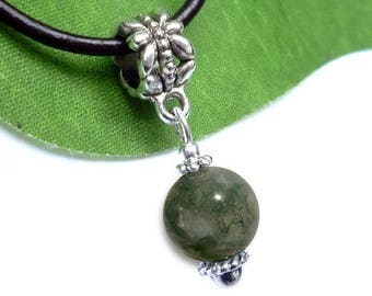 Silver plated - Moss agate sphere pendant