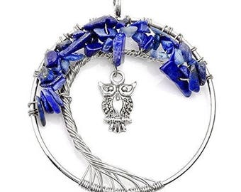 Tree of life pendant silver plated OWL - lapis lazuli