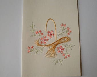 Embroidered card no. 7 floral basket