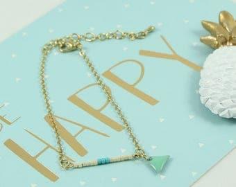 015 triange Mint Green Gold brass chain bracelet 14 k