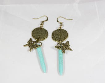 beautiful earrings dangle turquoise bead, 8 cm