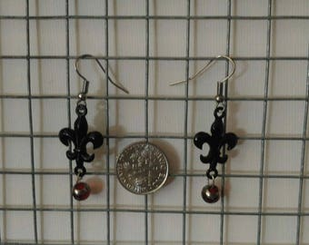 Black Fleur-de-lis Earrings