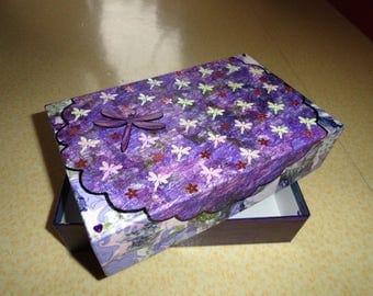 Purple organza and Dragonfly cardboard box