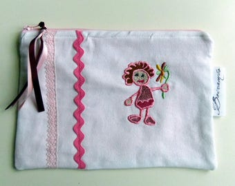 Pouch/bag girl, white denim and embroidery.