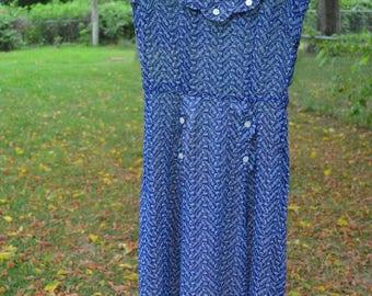 1940s dress - vintage dress - vintage day dress - blue vintage dress