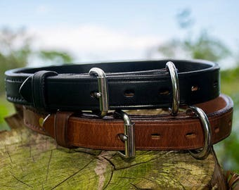 Handcrafted Carbon K9 1inch Leather Dog Collar