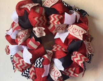 Red Burlap Valentine Wreath, Red Burlap Door Decor, Valentine Wreath, Valentines Wreath, Burlap Wreath, Red Burlap Wreath