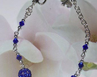 "Silver metal and glass beads ""Ultramarine"""
