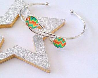 Colorful waves silver Bangle Bracelet