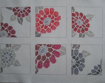 Red and gray embroidery