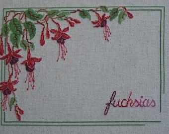 """Fuchsias"" Victorian cross stitch Embroidery"