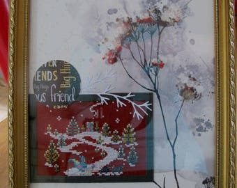 "Painting ""winter"" embroidered in cross stitch"