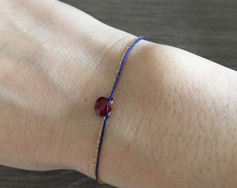 Double chain and wire color purple and blue bracelet