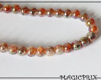 Set of 20 dyed mother of Pearl 8 mm cream/Orange glass beads & Brown 1362