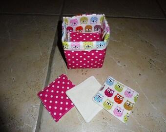 basket pink polka dots and owls + 20 wipes 100% organic bamboo