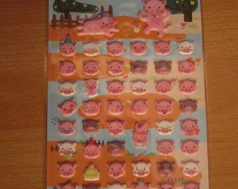 sheet of stickers embossed pig pig head
