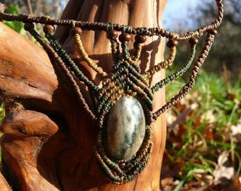 Necklace Jasper macrame