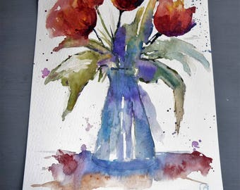 purple flowers semi abstract watercolor painting