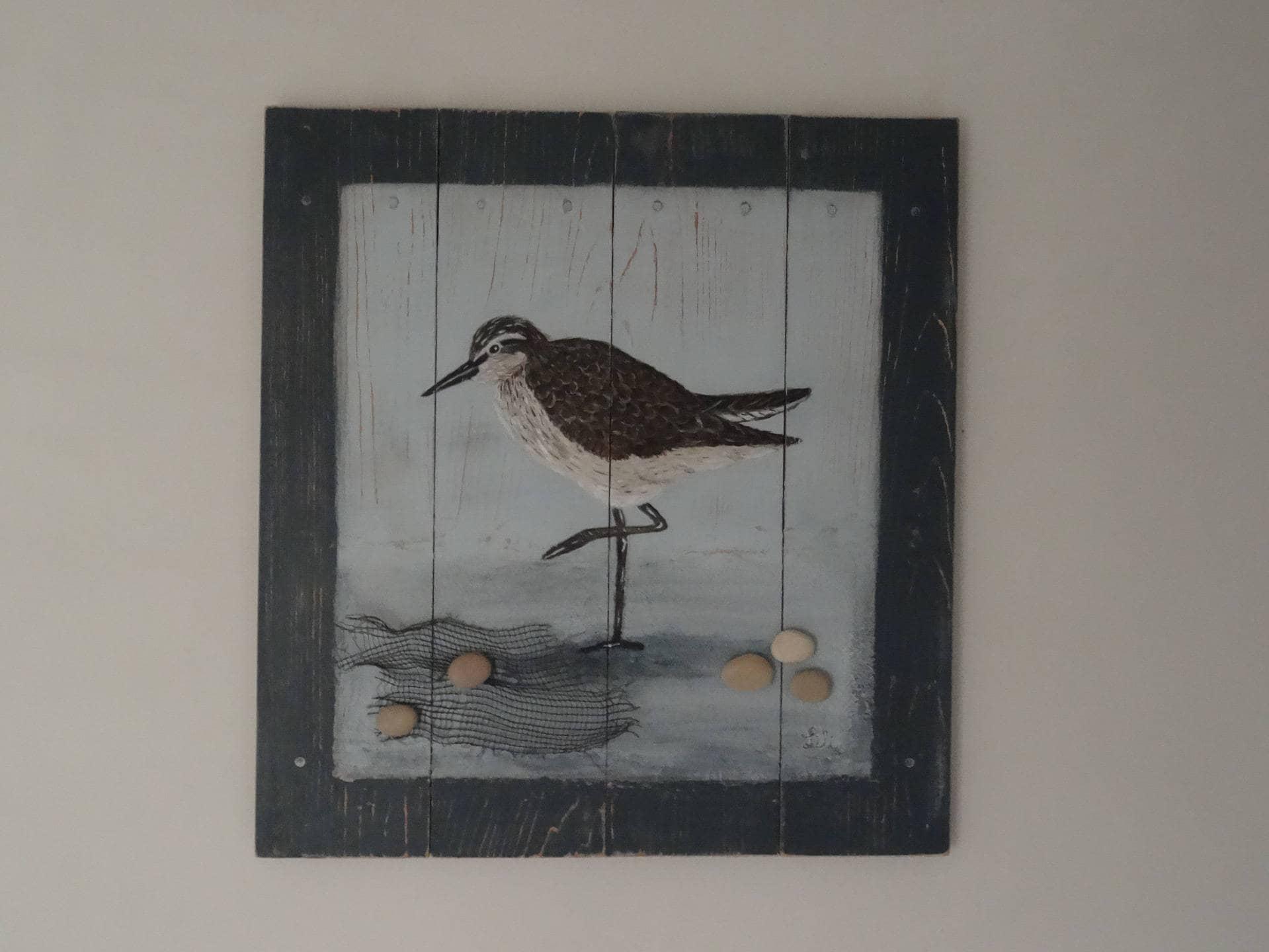 Tableau Sur Bois De Palette Oiseau En Bord De Mer