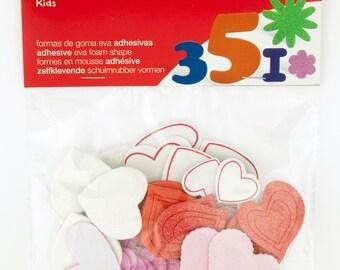 Adhesive foam glitter hearts x 52 - Kids - Ref 13283 APLI shapes