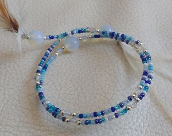 Feathers and Opal gem stone bracelet