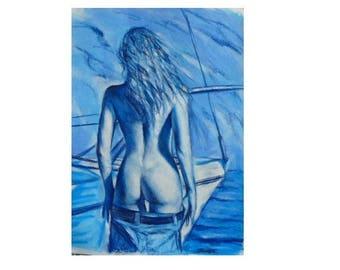Belle bleue - peinture au pastel sec sur papier épais GRAND FORMAT - dessin femme nue de dos idée cadeau homme pour lui nu artistique marin
